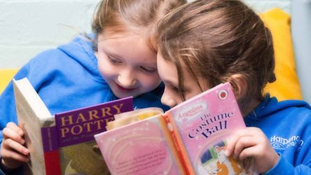Harpenden Academy pupils Charlotte Watson, 7, and Saskia Greensmith, 6, will both benefit from the £