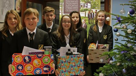 Meridian School Year 9 students with the hampers ready for deliver to Royston Food Bank.