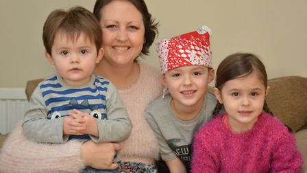 Sophie Morris, from St Ives, fundraising for the Brain Tumour Charity, with her children (l-r) Finn,