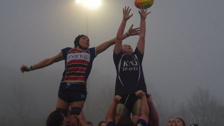 Saints try to steal a line-out against Romford & Gidea