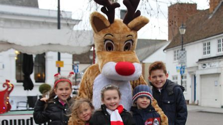 Olivia Derby, Freya Stokes, Amelia Derby, Liam Stokes, and Lucas Derby with Rudolph. PICTURE: Clive