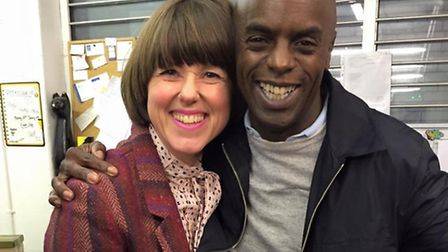 Caroline Jones, of Knickers Model's Own fame, with DJ Trevor Nelson