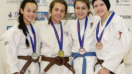 Amy Platten with the rest of the medalists. Picture: MIKE VAREY