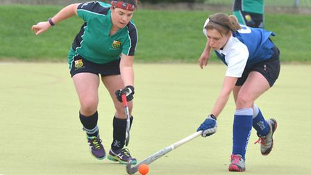 Helen Clarke (left) struck twice as St Ives Ladies 1sts beat Cambridge Nomads. Picture: HELEN DRAKE