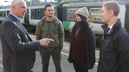Thameslink passenger service director Stuart Cheshire with Tom Fuller, Becky Emery and Michael Susze
