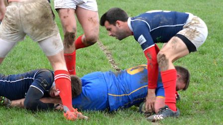 Josh Lawrence goes over for Verulamians first try. Picture: KEVIN LINES