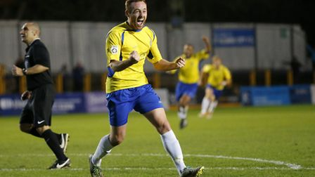 Harry Crawford celebrates his goal that puts the Saints two up against Margate. Picture: LEIGH PAGE
