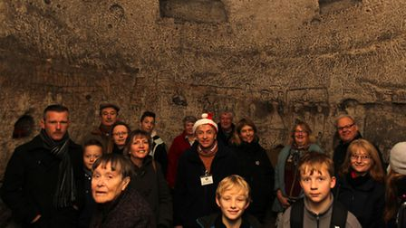Visitors in Royston cave