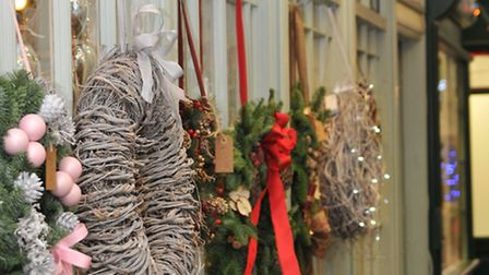 Wreaths line the arcade in St Albans, where you'll find The Flower Box