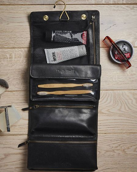 Great for travel, great for the home - a leather hanging washbag from Vida Vida