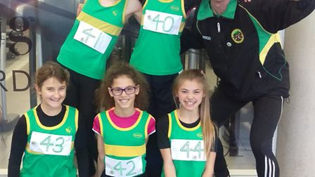 Hunts AC Under 11 girls team who competed in the Cambridgeshire AA Sportshall Championships. They ar