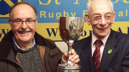 The Leslie Boudry Referees Trophy is presented to St Albans chairman Terry Evans