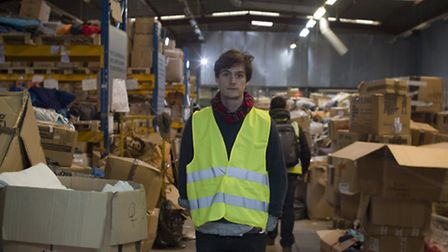 Herts Ad reporter, Taylor Geall, in the refugee help centre a few miles from the 'Calais Jungle'.