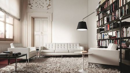 Florence Knoll Sofa in White Leather, 3 seater from £8000.00, NW3 Interiors
