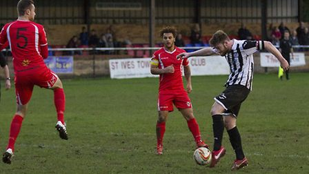 Charlie De'Ath was sent off as St Ives Town were beaten at Royston. Picture: LOUISE THOMPSON