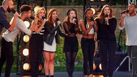 Brampton singer Abi Dhese-Biggs (middle) with girl band mates Mon Amie at X Factor bootcamp
