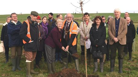 Godmanchester in Bloom planting of the first trees and shrubs at the new Godmanchester Country Park,