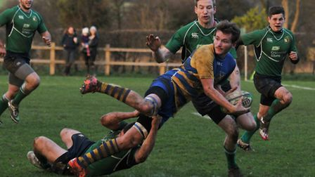 St Albans look for an offload against Datchworth. Picture: DANNY LOO