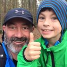 Charlie Sheard, 8, and his dad Richard training for their 21-mile abbey to abbey fundraiser