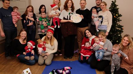 Royston NCT Bumps and Babies group coordinator Meriel De Vekey presents a plate to the Old Bull Inn