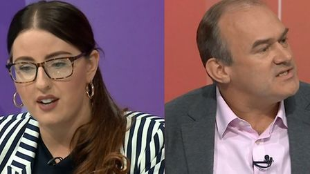 Laura Pidock and Ed Davey on BBC Question Time. (Photograph: BBC News)