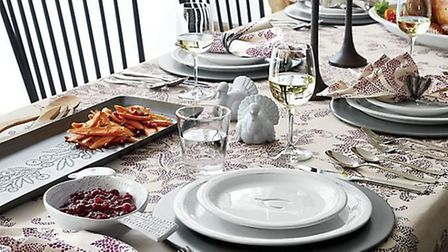 A beautifully set Thanksgiving table from Crate & Barrel
