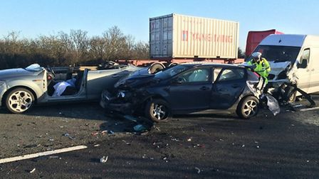 The scene of the collision, on the A14, near Godmanchester.