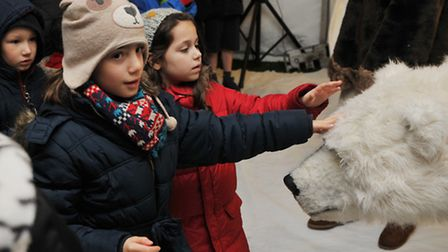 Visitors to the St Albans Christmas market are greeted by Bjorn the polar bear