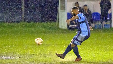 Ryan Frater pictured during his return St Neots Town appearance at Redditch last Saturday. Picture: