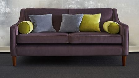 Balfour Sofa, Three Seater, Grape Velvet, £796, cushions from a selection, available from Withinhome
