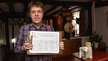 Nigel Wild at the Rose & Crown with the petition