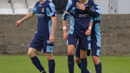 Tom Meechan (left) and Ryan Hawkins (right) both scored for St Neots Town. Picture: CLAIRE HOWES