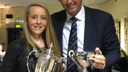 Katherine Speed receives her award from ECB chief executive Tom Harrison.