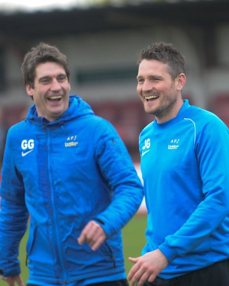 Jimmy Gray and Graham Golds after a game with Hemel Hempstead last season. Picture: BOB WALKLEY