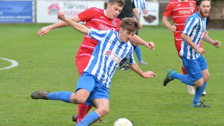 Action from Eynesbury Rovers' 1-0 victory against Wisbech Town. Picture: HELEN DRAKE