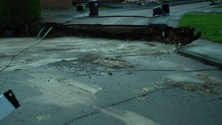 The sinkhole in Fontmell Close, St Albans