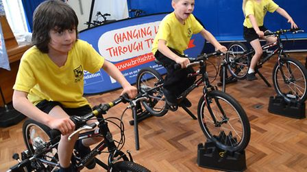 Year 3 pupils on the static bikes