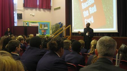 Luther Blissett, from Show Racism the Red Card, talks to Townsend School pupils during anti-bullying
