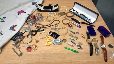 The jewellery discovered by police in St Neots