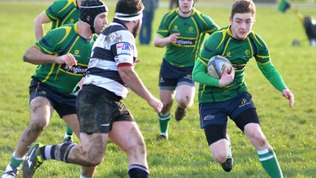 Action from Huntingdon's narrow defeat against Bedford Athletic. Picture: HELEN DRAKE
