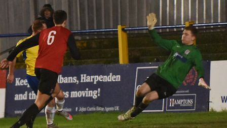 Harry Crawford bagged two goals to see off Hadley in the Herts Senior Cup. picture: BOB WALKLEY