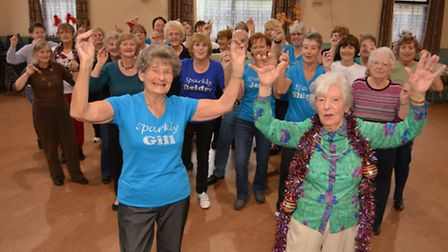Bootscooterz line dancers Gill Baker,(89) and Irene Prior,(91) at St Ives Methodist Church Hall, wit