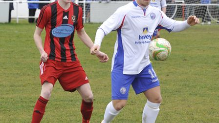 Declan Rogers (right) in action for former club AFC Rushden & Diamonds last season.
