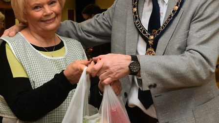 Langley Bread Distribution, at St Ives Corn Exchange, Shirley Fox, with St Ives Mayor Ian Jackson,