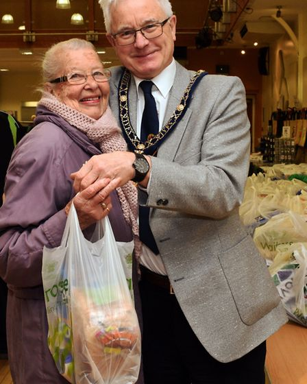 Langley Bread Distribution, at St Ives Corn Exchange, Iris Smith, with St Ives Mayor Ian Jackson,