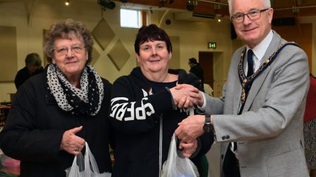 Langley Bread Distribution, at St Ives Corn Exchange, (l-r) Joanne Bates, and Betty Smith, with St I