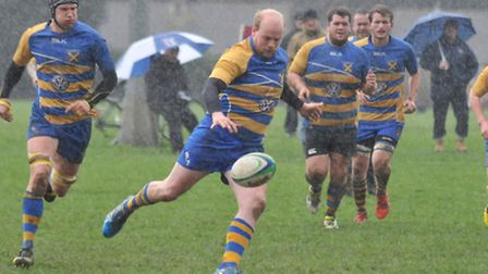 Nick Woolley kicks forward as St Albans lose to Hitchin. Picture: DANNY LOO