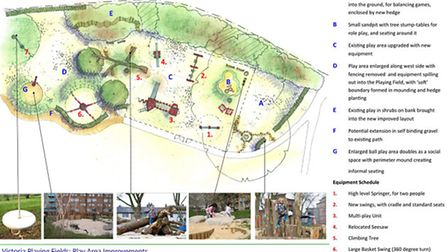 The concept plan for the Victoria Playing Fields play area