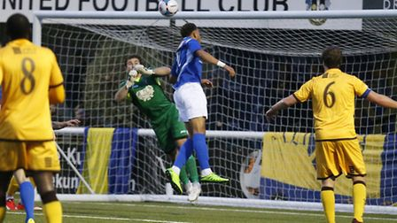 Jonathan Edwards is unable to direct the ball into the back of the net. Picture: LEIGH PAGE