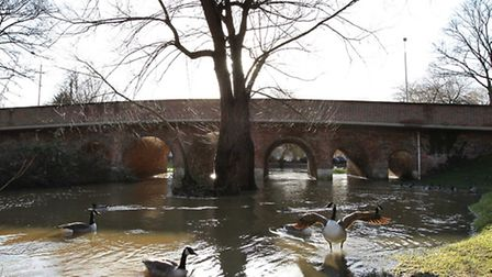 The River Colne also burst its banks in London Colney last year